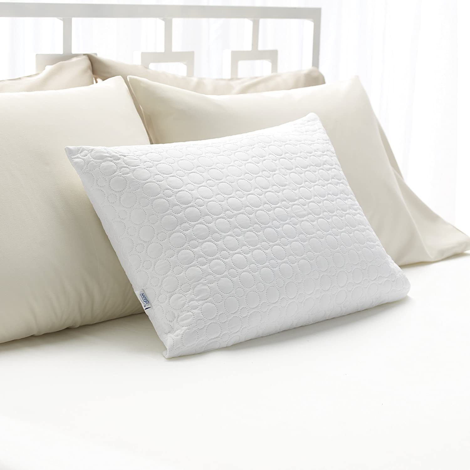 sleep innovations classic memory foam pillow standard size breathable knit cover 5 year warranty