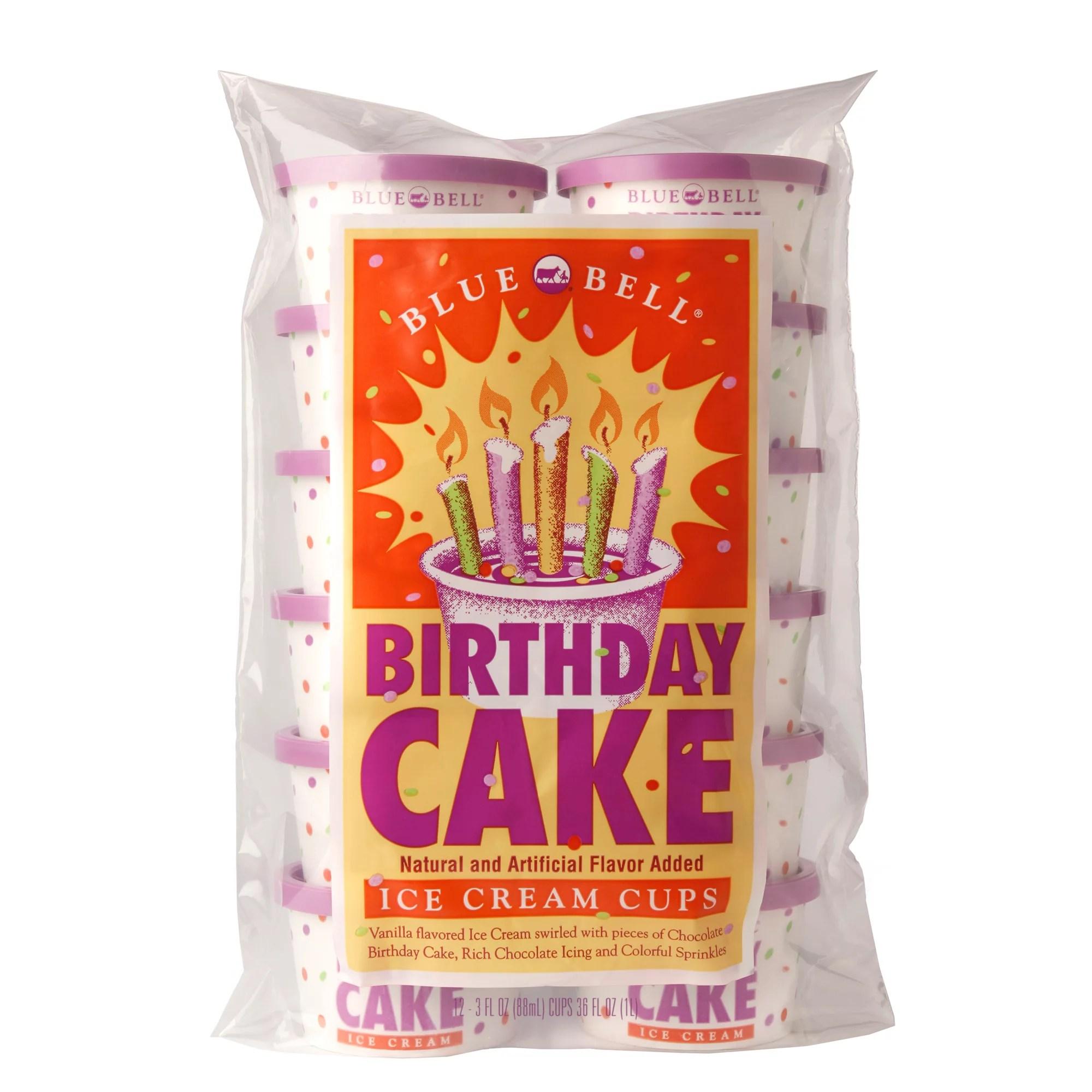 Blue Bell Birthday Cake Ice Cream Cups 12 Count Walmart Com Walmart Com