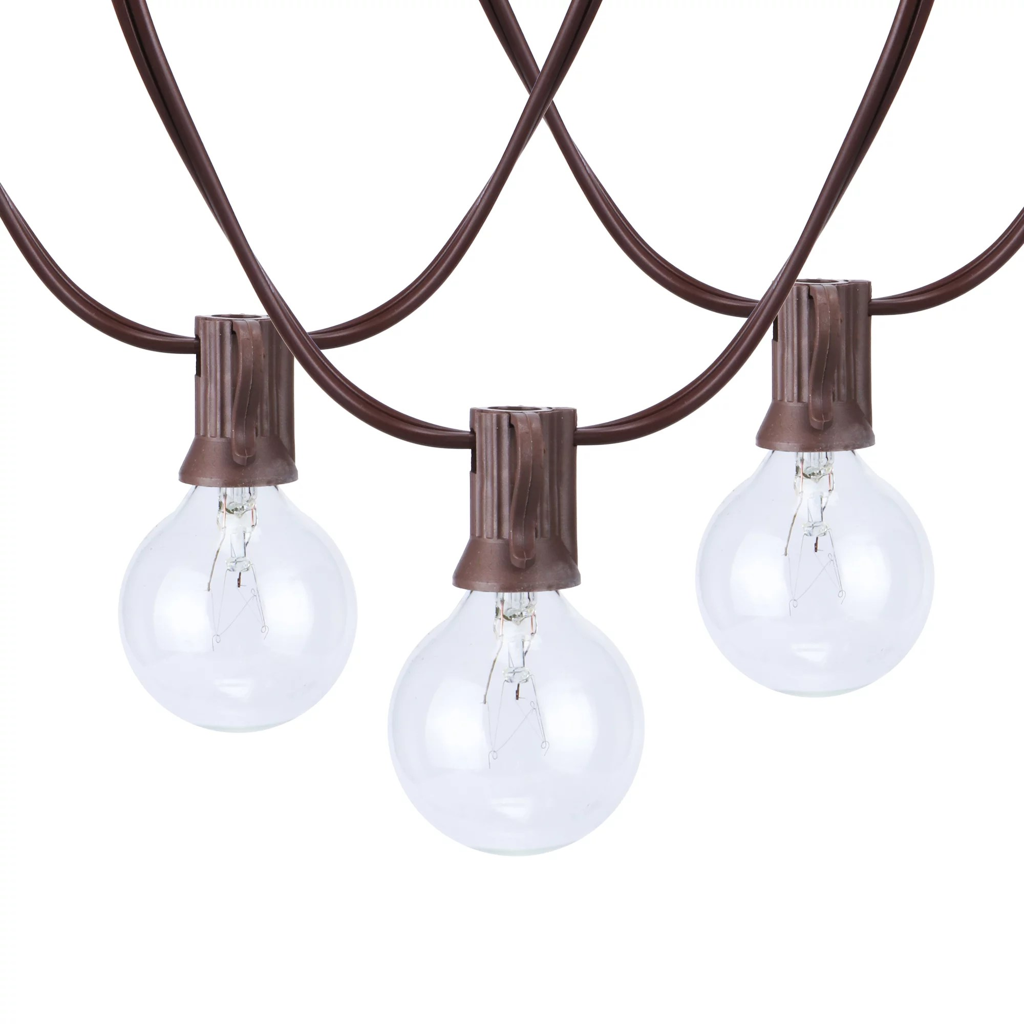 better homes gardens 110 volts electric 18 7 feet 20 count g40 clear glass globe bulbs brown wire string lights for outdoor and indoor use