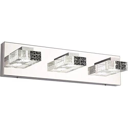 vanity lightssolfart 3 head glass wall bathroom mirror bath long led vanity lighting fixtures white light 4500k