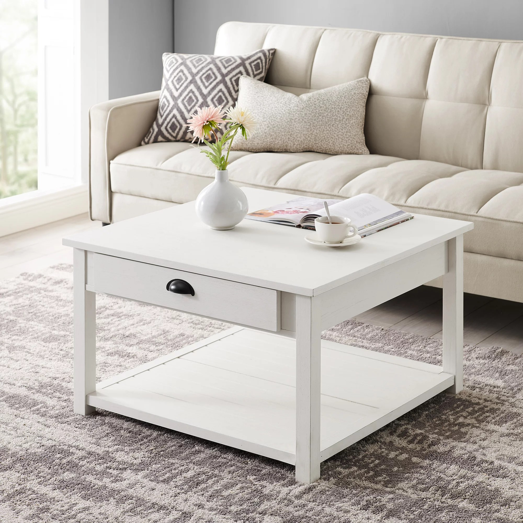 manor park 30 inch square country coffee table brushed white