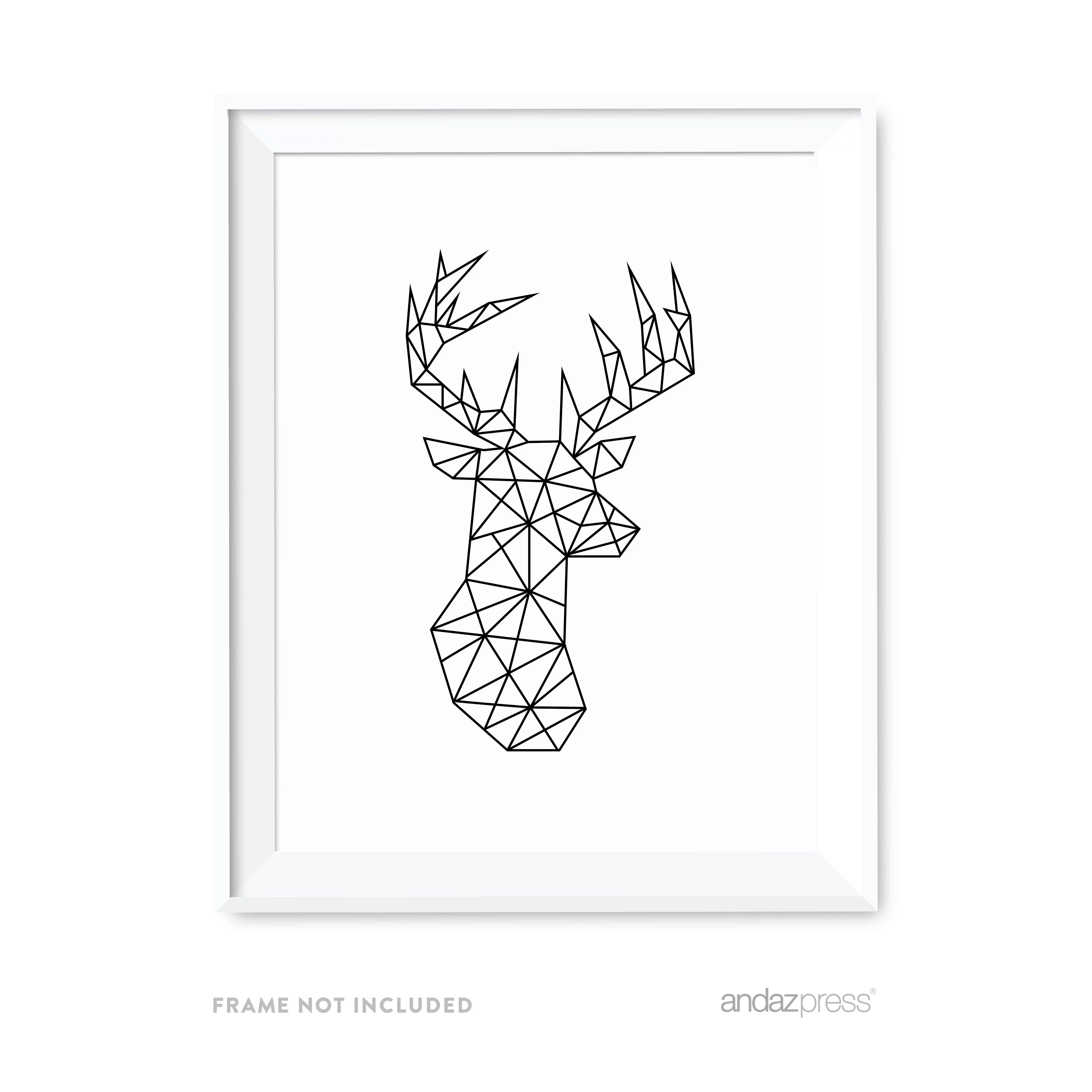 Deer Geometric Animal Origami Wall Art Black White