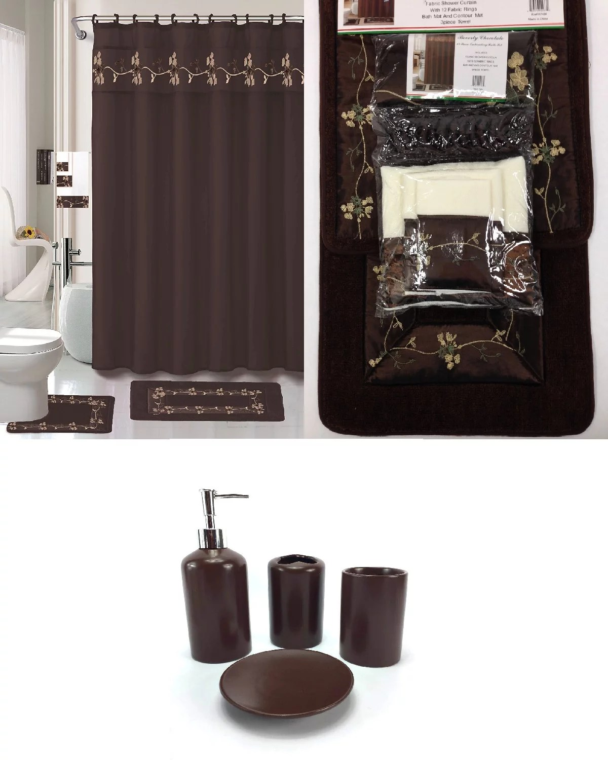 22 piece bath accessory set beverly chocolate brown bathroom rug set shower curtain accessories walmart com