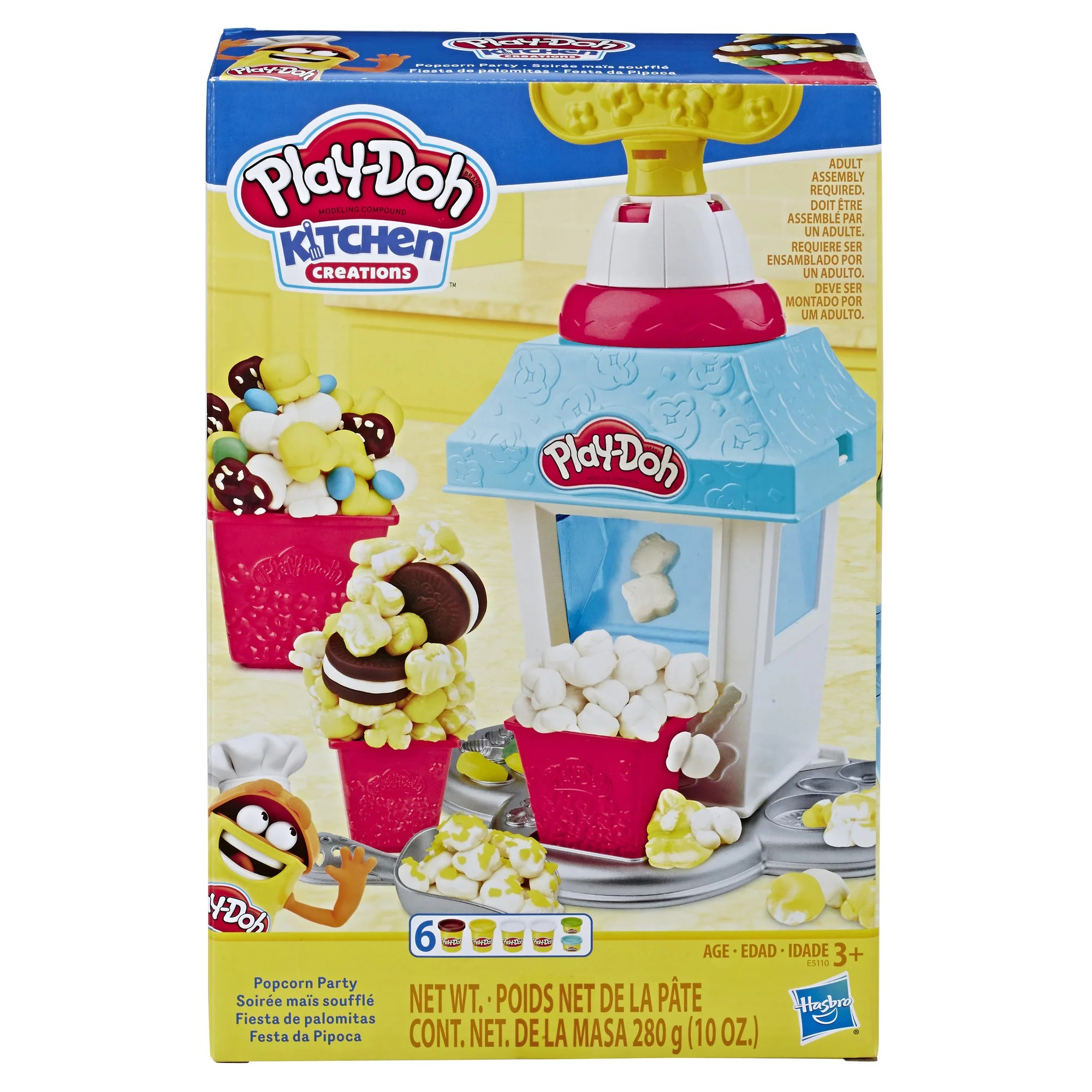Play Doh Kitchen Creations Popcorn Party Play Food Set With 6 Cans Walmart Com