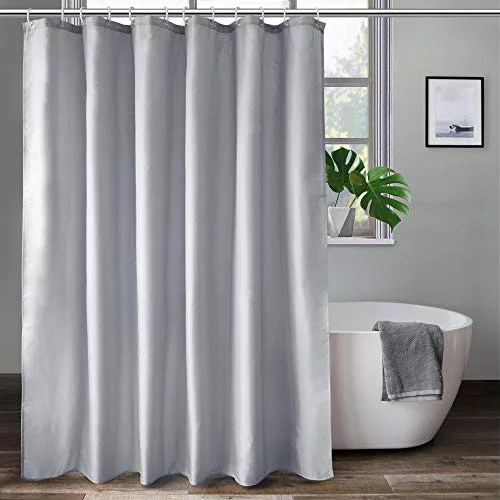 aoohome extra long shower curtain 72x78 inch fabric shower curtain liner for hotel with hooks waterproof light grey