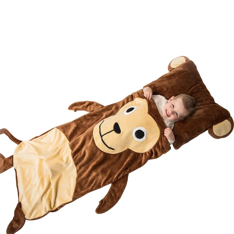sleepy sack kids plush sleeping bag with pillow monkey walmart com