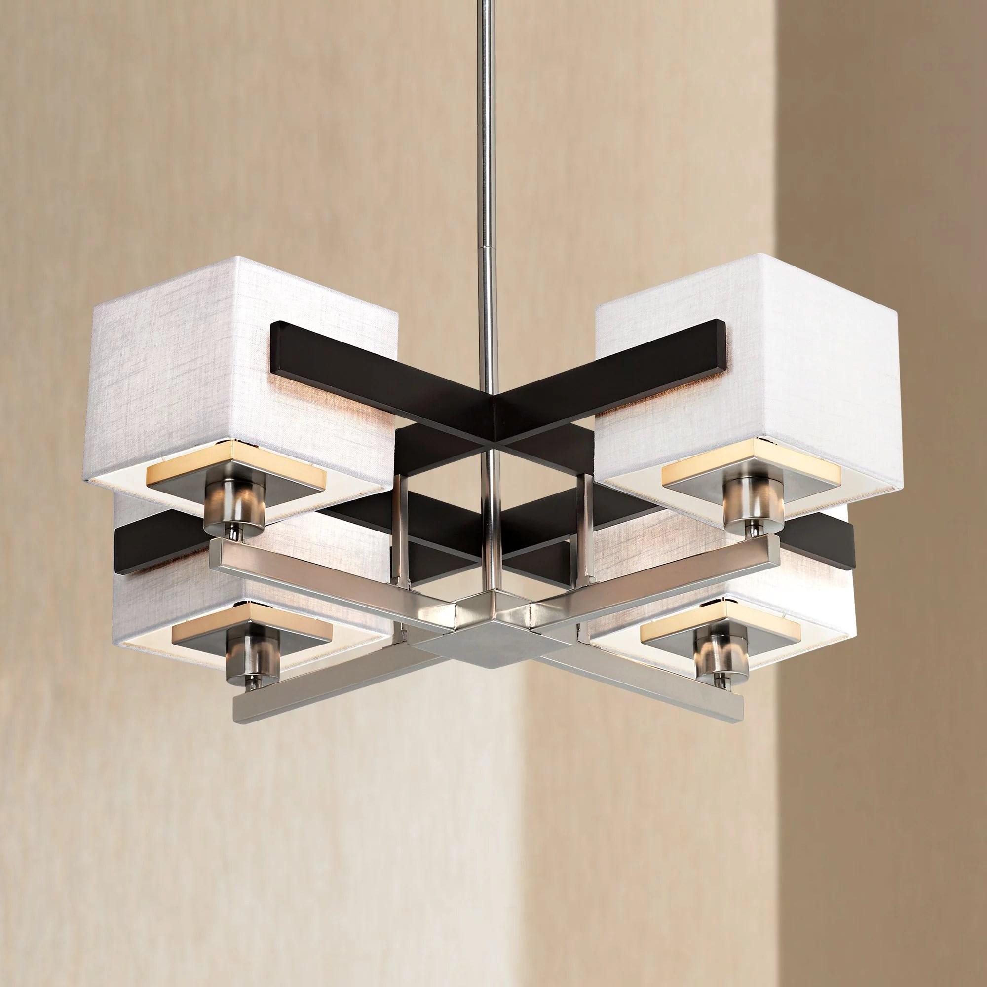 possini euro design brushed nickel pendant chandelier 28 wide modern dark mocha wood off white fabric 4 light fixture dining room walmart com