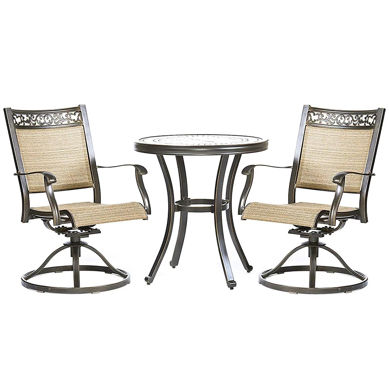 3 piece bistro set handmade contemporary round table swivel rocker chairs garden backyard outdoor patio furniture