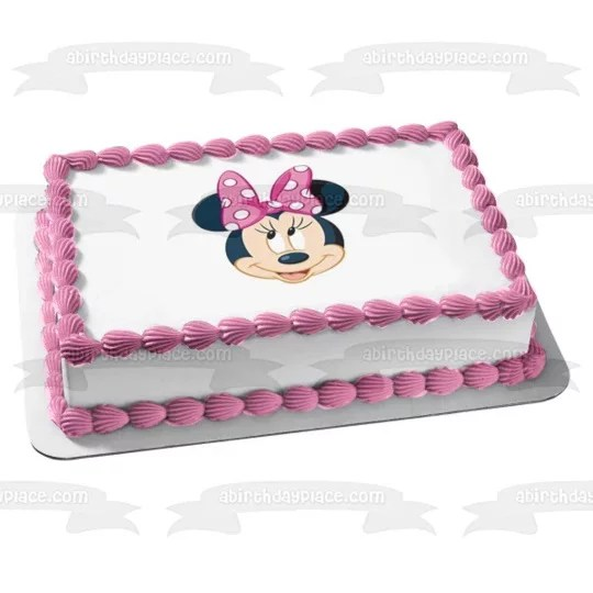 Minnie Mouse Face Pink Bow Edible Cake Topper Image 1 4 Sheet Walmart Com Walmart Com