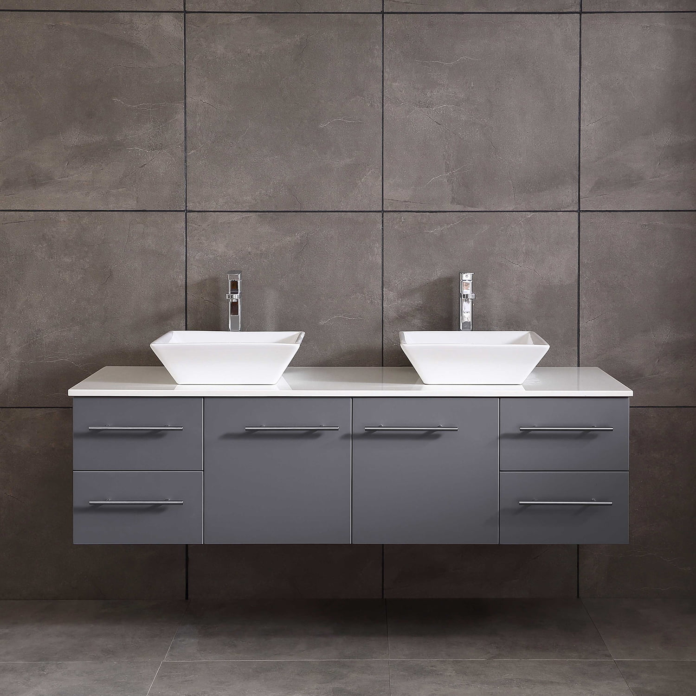 totti wave 72 inch gray modern double sink bathroom vanity with white glassos countertop porcelain vessel sinks walmart com