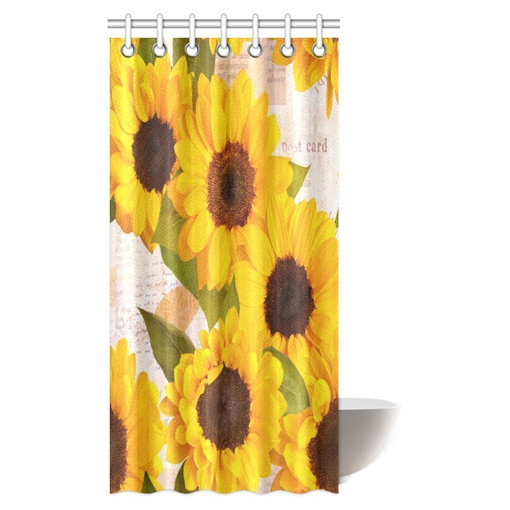 mypop sunflower shower curtain vintage rustic looking grunge sunflowers field blooms fabric shower curtain set with hooks 36 x 72 inches