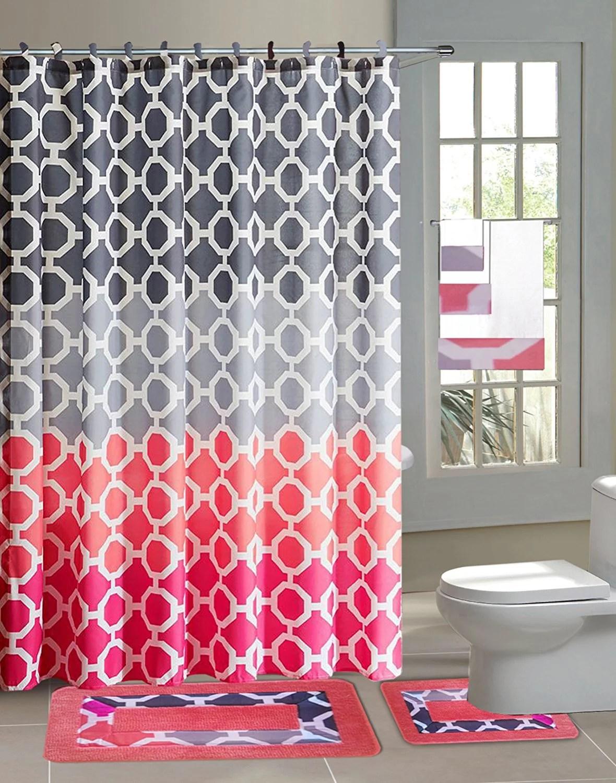 hajar pink gray chains 15 piece bathroom accessory set 2 bath mats shower curtain 12 fabric covered rings walmart com