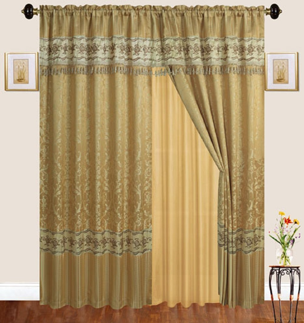 luxury jacquard curtains gold window panels with backing valance and tie backs emma d122 gold