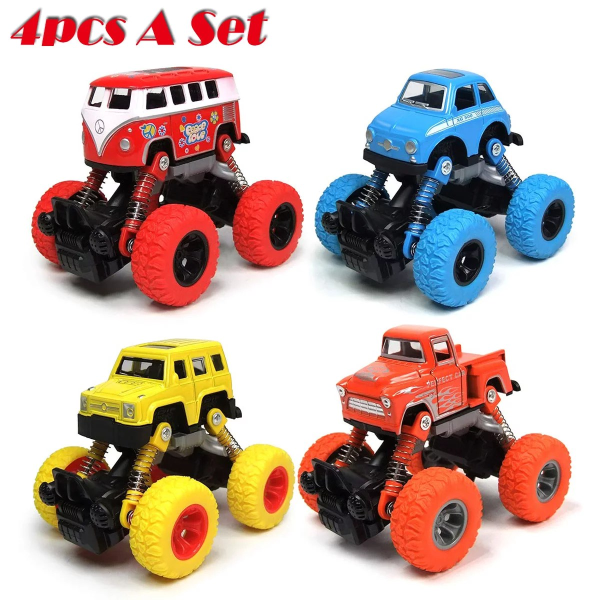 Pull Back Car 4 Pack Truck Toy Set Vehicle Educational