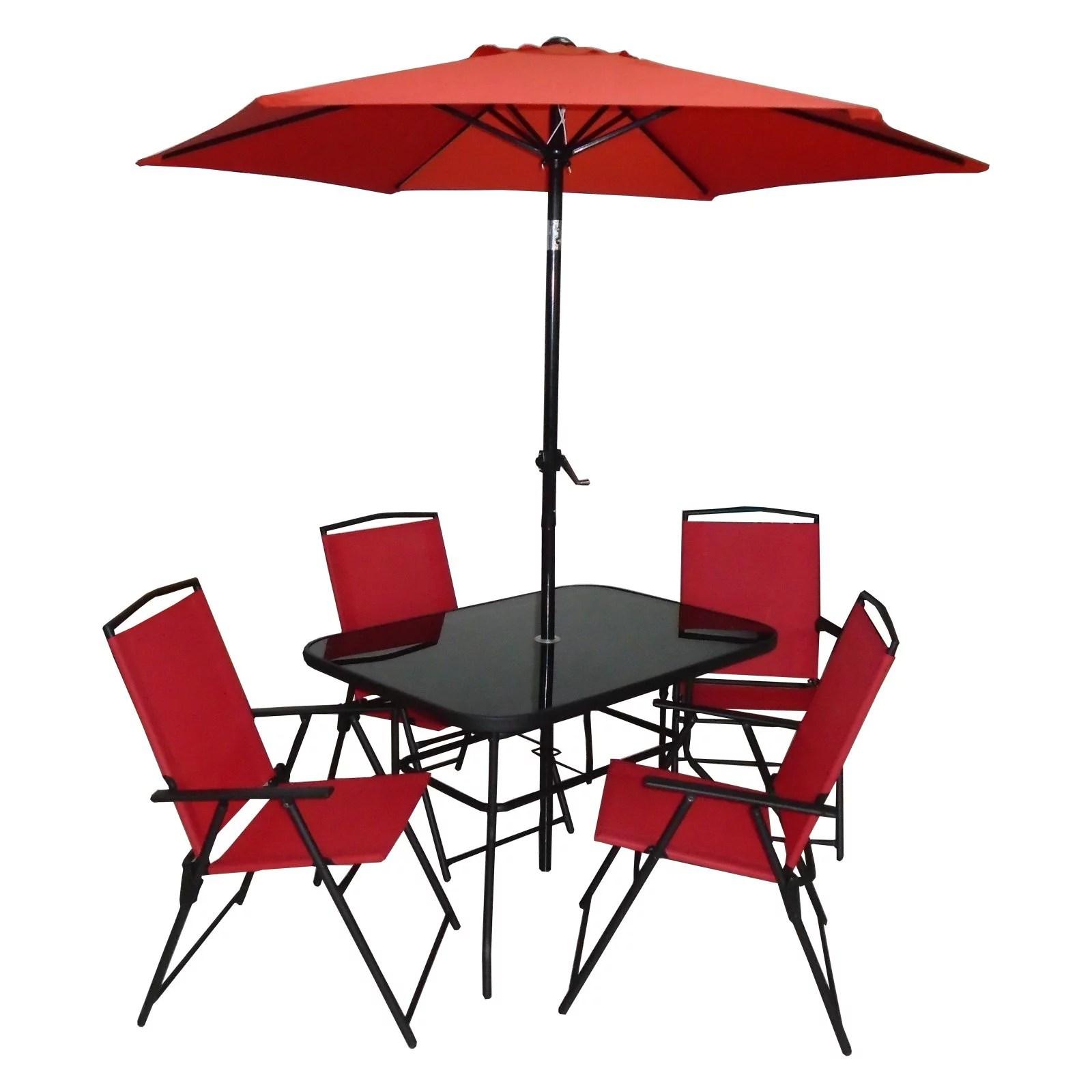 dura housewares pompeii 6 piece patio sling dining set with umbrella