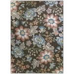 Mainstays Gray Floral Nylon Loop Pile Print Area Rug Or