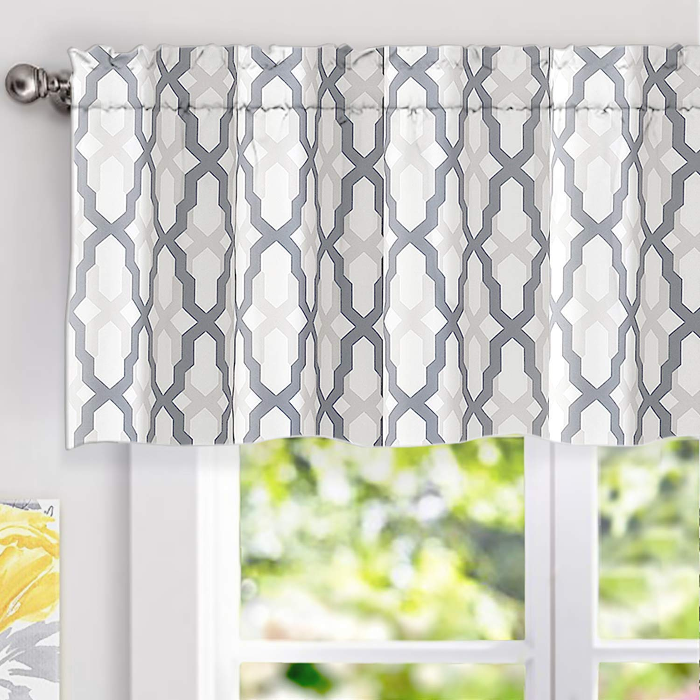 driftaway mason geometric trellis pattern window curtain valance rod pocket 52 x18 2 header gray walmart com