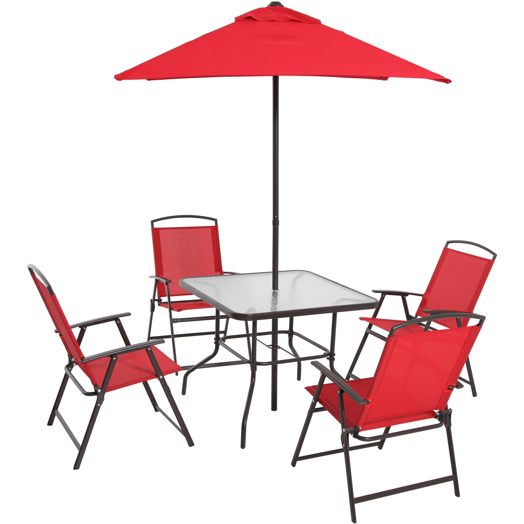 mainstays albany lane 6 piece outdoor patio dining set red