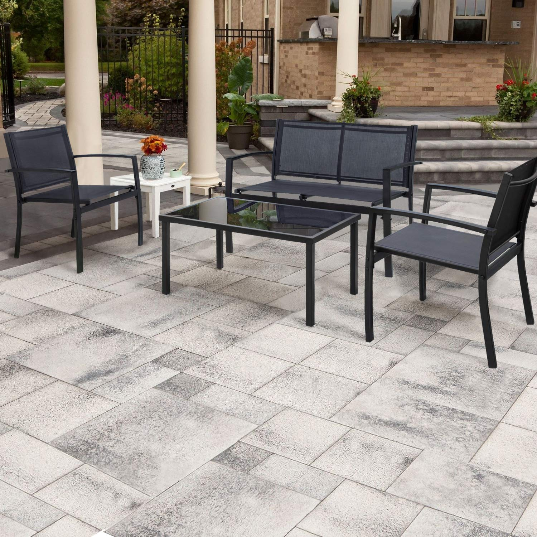 walnew 4 pieces patio furniture outdoor