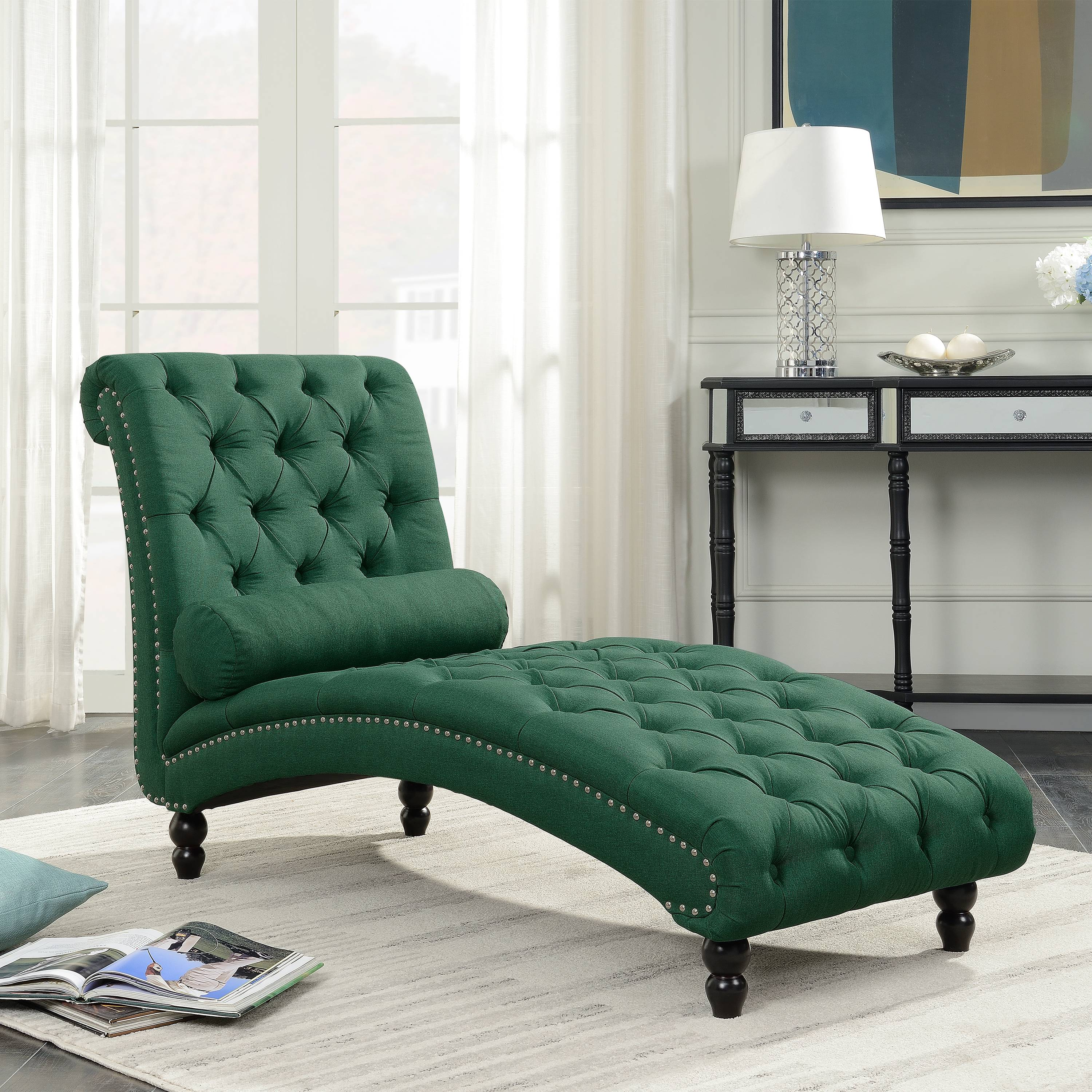 Details About Chesterfield Chaise Lounge Armless Chair Modern Sofa Bedroom Living Room Tufted