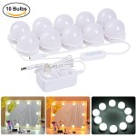 Coolmade Hollywood Style Led Vanity Mirror Lights Kit With 10 Dimmable Light Bulbs 2 Color Lighting Modes Lighting Fixture Strip For Makeup Vanity Table Set In Dressing Room Mirror Not Include