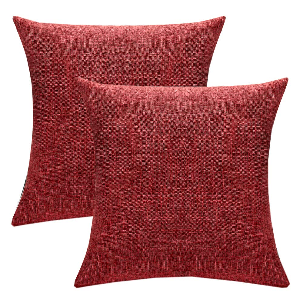 wendana set of 2 solid burgundy cotton linen decorative throw pillow covers 18x18 inch for sofa couch decor rustic cushion cover pillowcase