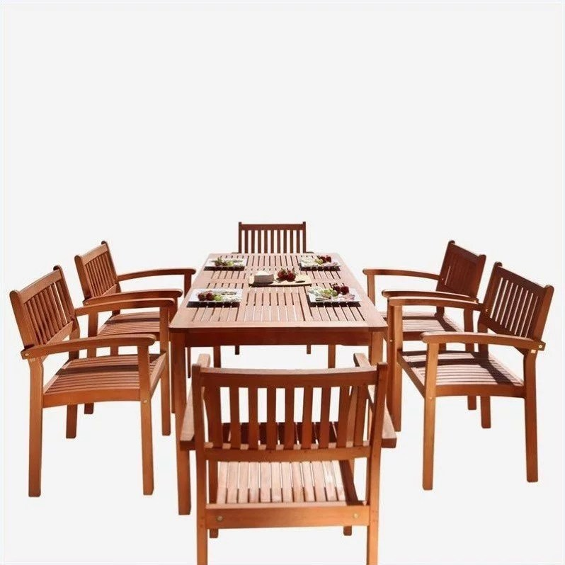malibu outdoor 7 piece wood patio dining set with stacking chairs