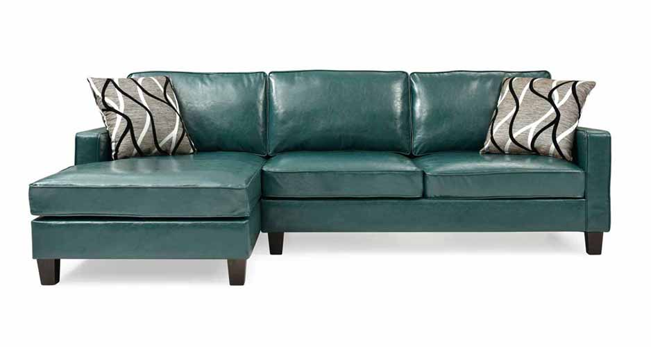 glenbrook turquoise faux leather sectional