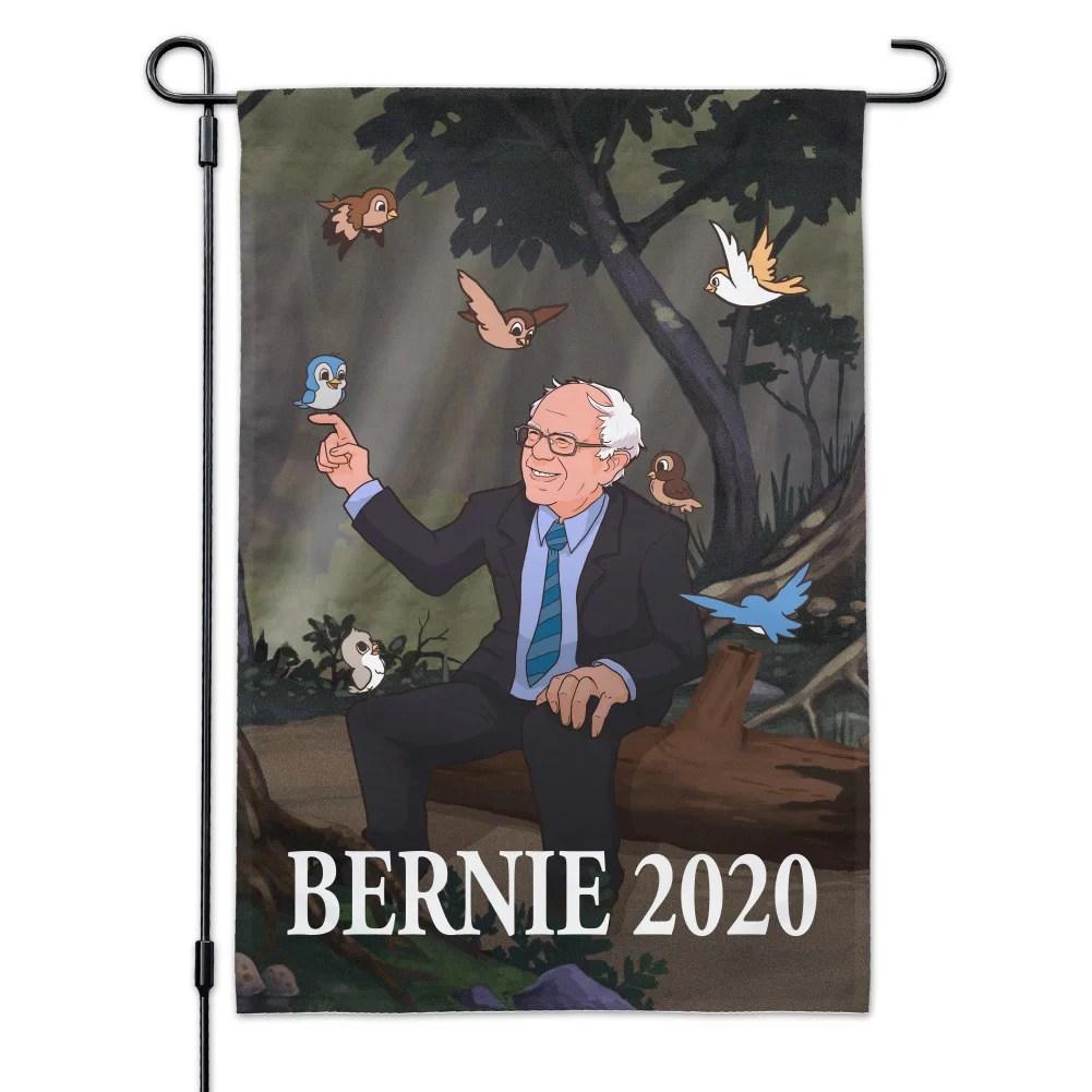 bernie sanders 2020 with birds in a forest retro cartoon garden yard flag