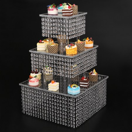 Clear 3 Tier Cupcake Stand With Chandelier Grade Crystal Acrylic Drops Bling Cake