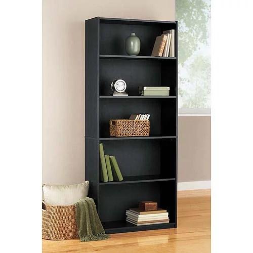 mainstays black oak finsh 5 shelf bookcase