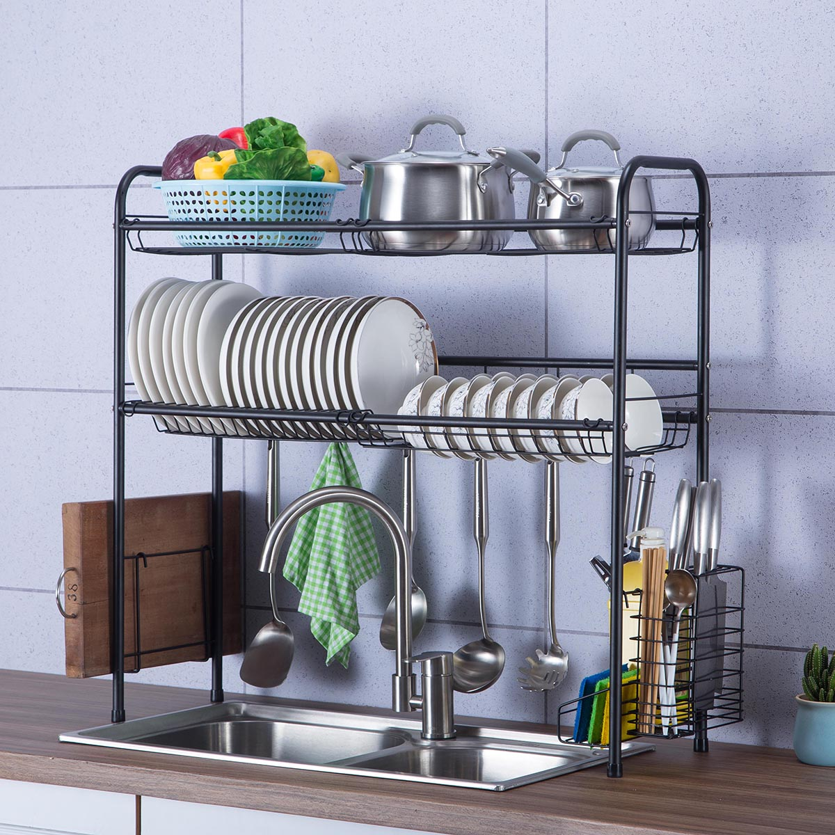 stainless steel dish drying rack over sink drain rack dish drainers shelf holder for home kitchen counter space saving walmart com