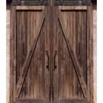 Rustic Wooden Board Barn Door Waterproof Shower Curtain Bath Rug Set 12 Hooks