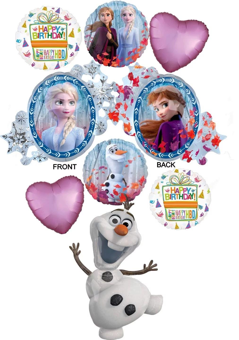 Frozen 2 Party Supplies Elsa Anna And Jumbo Olaf Birthday Balloon Bouquet Decorations Walmart Com Walmart Com