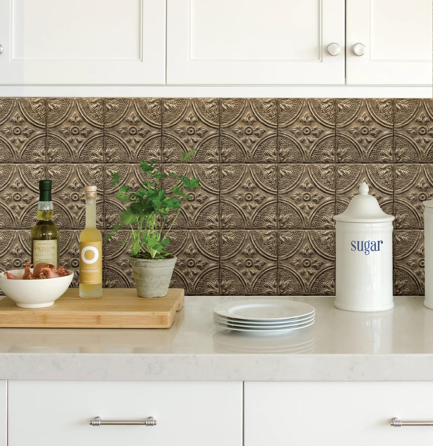 inhome restored tile bronze peel stick backsplash tiles