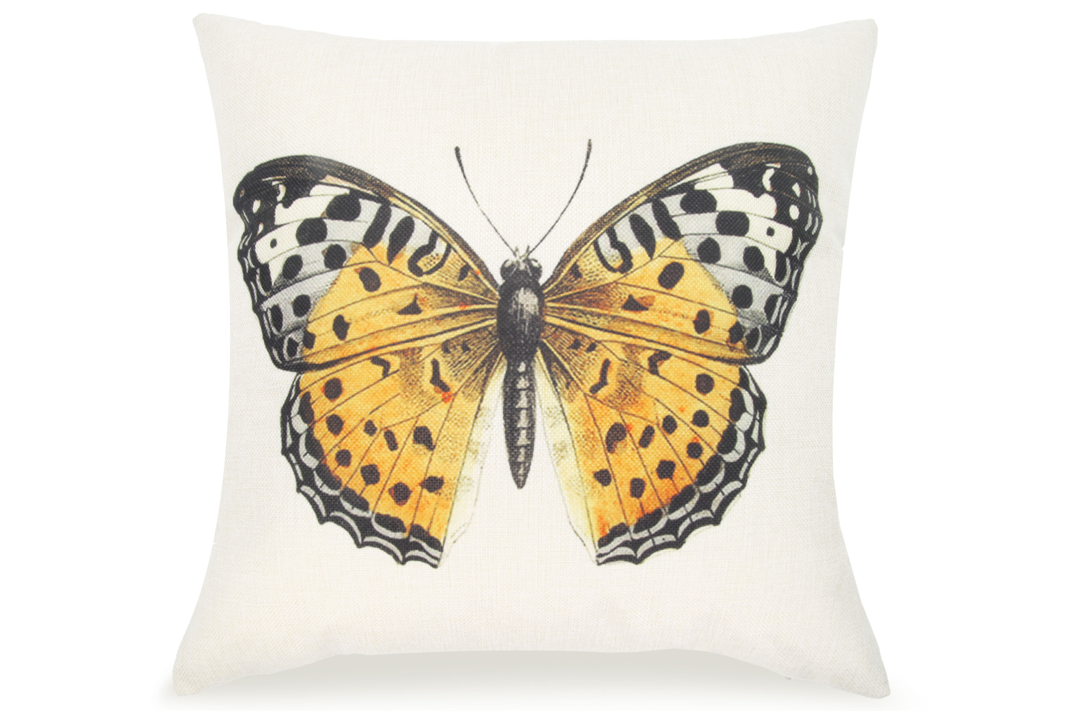 pal fabric blended linen flower square 18x18 yellow butterfly pillow cover