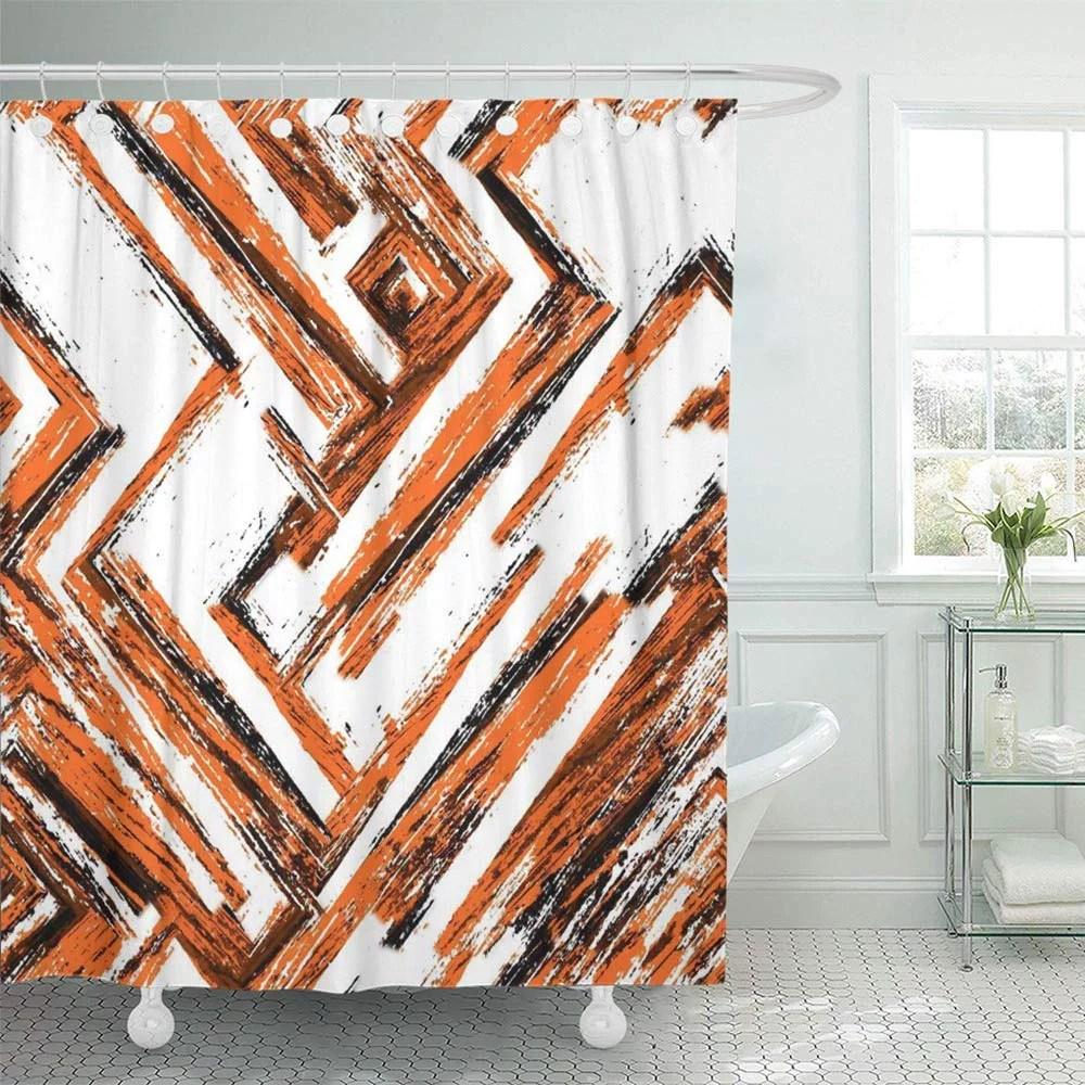 pknmt dark brown black white orange old weathered in horror dirty spots cracks bathroom shower curtains 60x72 inch