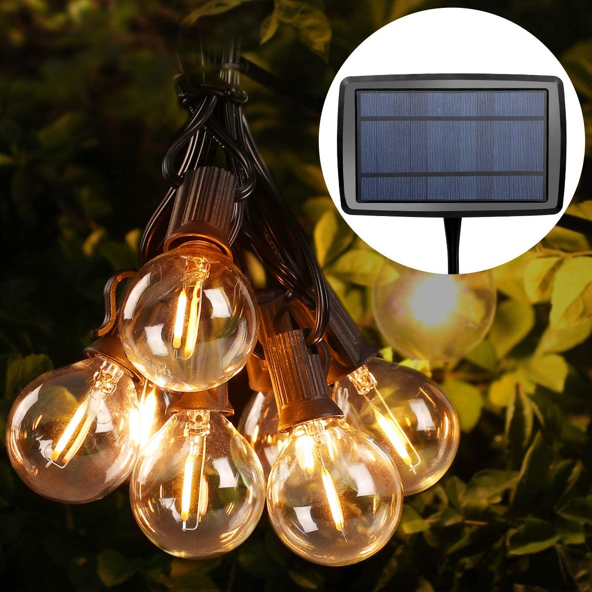 le solar outdoor string lights 25ft 26 units g40 patio lights waterproof solar edison bulb string lights for indoor outdoor garden patio bistro