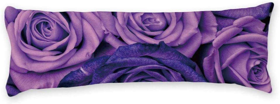 buythrow purple rose sexy floral long body pillow case cover silky shiny satin body pillow cover soft and cozy envelope closure for adults pregnant