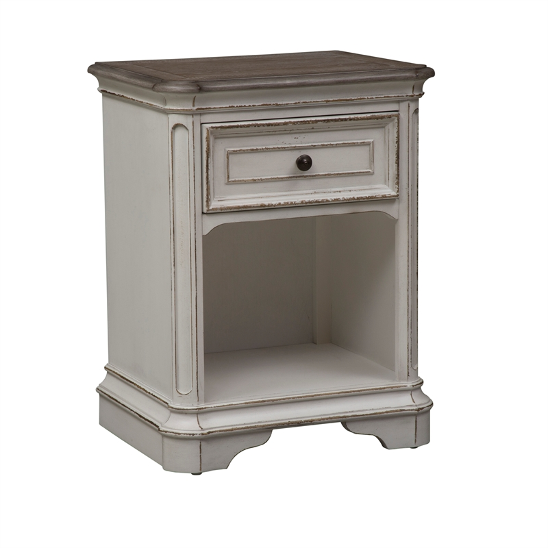 liberty furniture magnolia manor 1 drawer night stand in antique white