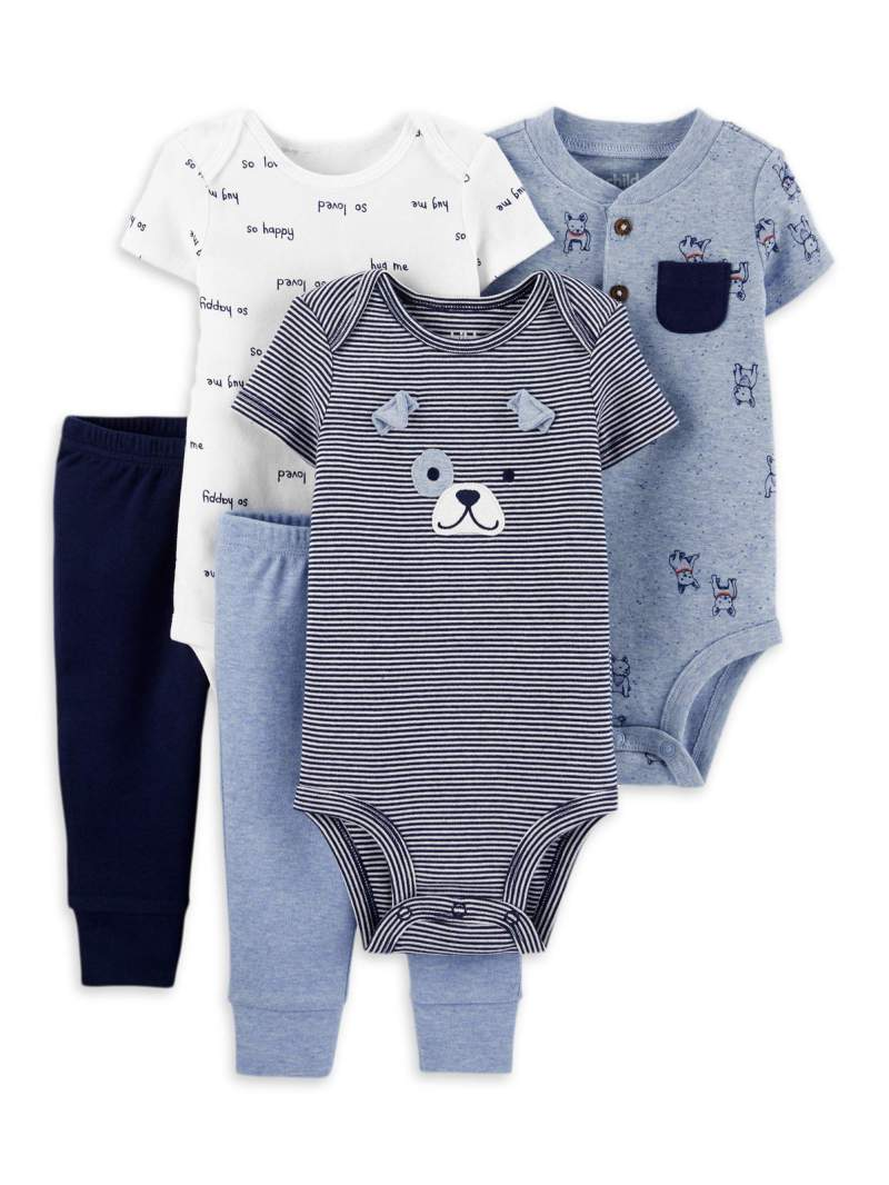 Child of Mine by Carter's Baby Boy Mix N Match Short Sleeve Bodysuits & Pants, 5pc Outfit Set