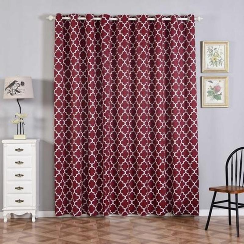 lattice pattern curtain panels 2 packs burgundy white trellis curtains 52 x 96 inch blackout curtains room darkening curtains with grommets