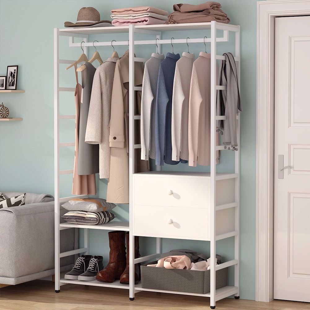 tribesigns free standing closet organizer with drawers heavy duty clothes rack with hanging rod and shelves large closet storage closet garment