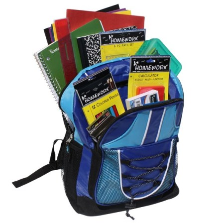 Prefilled High School 17 inch Backpack with Supplies - Blue & Teal