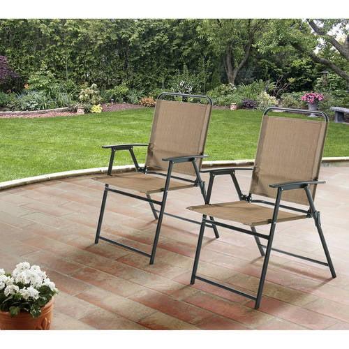 mainstays pleasant grove sling folding chair set of 2 beige