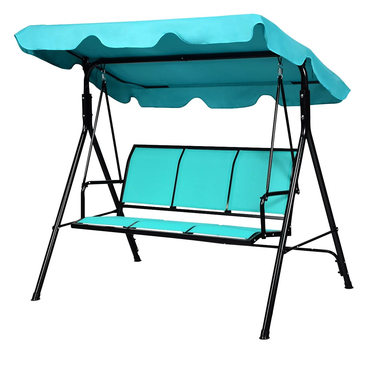 topbuy outdoor patio swing canopy bench chair rocking hammock blue