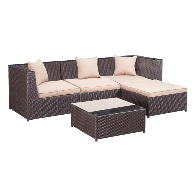 palm springs outdoor 5 pc furniture wicker patio set w/ chairs