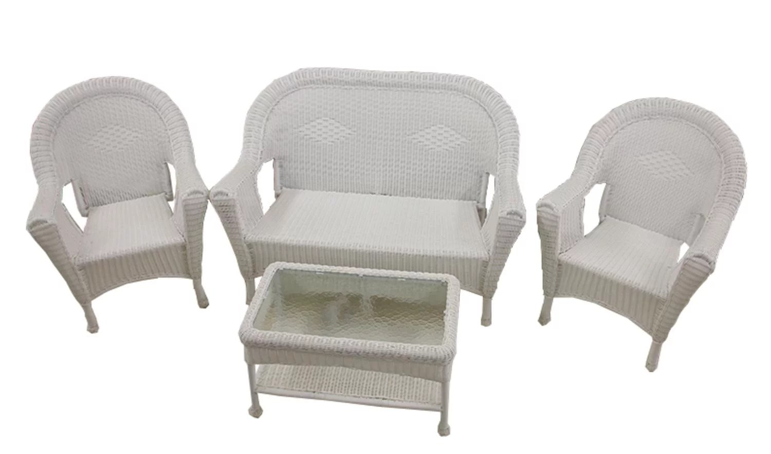 4 piece white resin wicker patio furniture set 2 chairs loveseat table