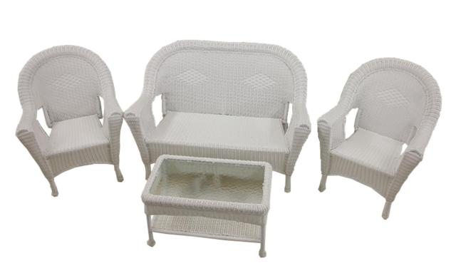 4-piece white resin wicker patio furniture set- 2 chairs, loveseat