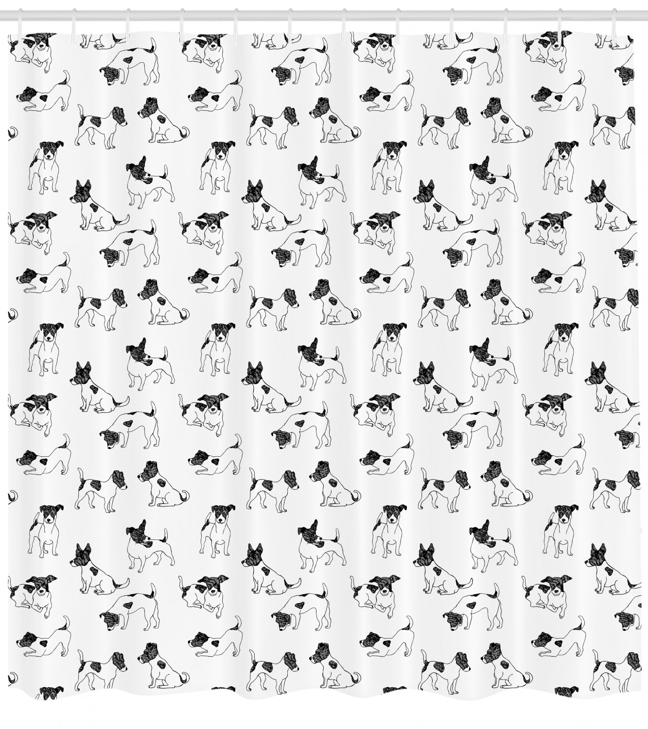 Dog Lover Shower Curtain Sketch Style Hand Drawn Jack